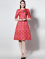 Trapèze Robe Femme Décontracté / Quotidien Chinoiserie,Jacquard Col Arrondi Midi ½ Manches Rouge Polyester Printemps / AutomneTaille