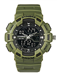 SYNOKE Men's Round Dial Casual Watch PU  Strap Digital  Watch 50m Water Resistance Watch (Assorted Colors)