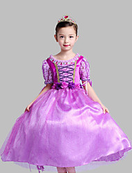 Ball Gown Tea-length Flower Girl Dress - Tulle / Polyester Short Sleeve Jewel with Crystal Detailing / Flower(s)