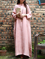 Cynthia Women's Casual/Daily Swing Dress Stand Maxi  Sleeve Pink Others Summer / Fall Mid Rise