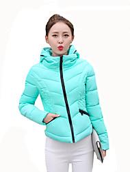 Women's Solid Slim Fashion Fashion Plus Size Padded CoatStreet chic Hooded Long Sleeve
