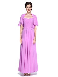 2017 Lanting Bride® A-line Mother of the Bride Dress - Elegant Ankle-length Short Sleeve Chiffon with Criss Cross