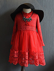 Girl's Casual/Daily Solid DressPolyester Spring / Fall Red / Gray