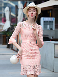 Women's Going out Sophisticated Sheath DressSolid Round Neck Above Knee Length Sleeve