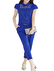 Women's Patchwork Blue Jumpsuits , Sexy / Party / Cocktail Shirt Collar Short Sleeve