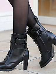 Черный-Женский-Для прогулок-Кожа-На танкетке-Военные ботинки-Ботинки