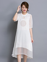 Women's Casual/Daily Simple A  DressSolid Round Neck Asymmetrical  Length Sleeve White Others Summer