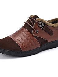 Men's Flats Fall / Winter Comfort / Round Toe Cowhide Casual Flat Heel Lace-up Black / Brown Others