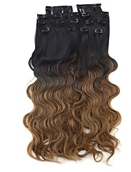 Neitsi 60cm 165g Curl Wavy Clip in on Hair Extension Ombre Brown Synthetic Hair Weft 8Pcs/Set