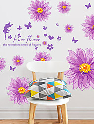 Botanisch / Romantik / Stillleben Wand-Sticker Flugzeug-Wand Sticker / 3D Wand Sticker Dekorative Wand Sticker,PVC StoffAbziehbar /