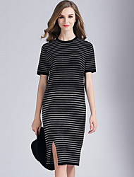 Eosciy® Damen Rundhalsausschnitt Kurze Ärmel Midi Kleid-80306