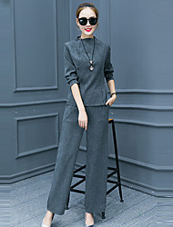 Women's Casual/Daily Vintage All Seasons Set Pant Suits,Solid Crew Neck Long Sleeve Gray Polyester Medium