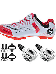 Cycling Shoes Unisex Outdoor / Mountain Bike Sneakers Damping / Cushioning White / Red-sidebike And PD-M520 Lock Pedals