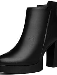 Damen-Stiefel-Büro Lässig-Kunststoff-Blockabsatz-Modische Stiefel-Schwarz Rot