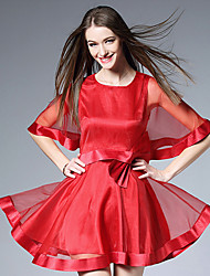 BURDULLY  Women's Formal Simple Sheath DressSolid Round Neck Above Knee Length Sleeve Pink / Red