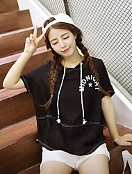 Tee-shirt Femme,Rayé / Lettre Décontracté / Quotidien simple Printemps / Eté Manches Courtes Capuche Blanc / Noir Polyester Moyen