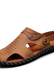 Men's Sandals Summer Sandals Leather Casual Flat Heel Others Brown / Khaki