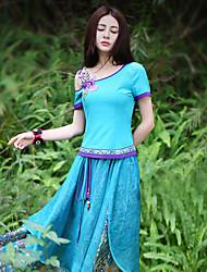 Our Story Going out Vintage Summer T-shirtColor Block Off Shoulder Short Sleeve Blue Polyester / Spandex Medium