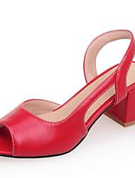 Damen-Sandalen-Kleid Lässig Party & Festivität-Kunstleder-Blockabsatz-Pumps-Schwarz Rosa Rot Weiß Beige