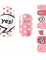 Fashion Sweet Love Pink Dot Nail Decal Art Sticker Gel Polish Manicure Beautiful Girl