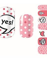 Fashion Sweet Love Pink Dot Nail Decal Art Sticker Gel Polish Manicure Beautiful Girl