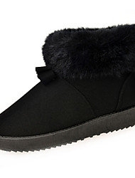 Women's Boots Winter Snow Boots / Round Toe / Flats SheepskinBowknot  / Slip-on Black / Brown / PinkSnow Boots