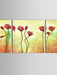 Peint à la main Abstrait / Nature morte / A fleurs/Botanique Peintures à l'huile,Modern / Classique / Pastoral / Style européenTrois