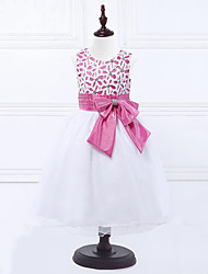 Menina de Vestido,Casual Floral Poliéster Verão Azul / Rosa / Violeta / Vermelho