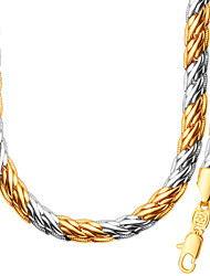 Fashion Simple Unique Design18K Gold Platinum Plated Tow Color Necklace Bracelet Sets For Women /Men Gift NB60089