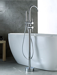 Bath Mixer With Shower Widespread Handshower Included Floor Standing Chrome Bathtub Faucet Brass