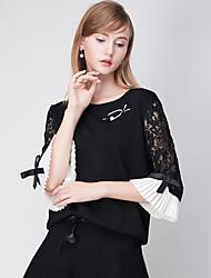 j&simple quotidien régulier cardiganpatchwork noir col rond manches polyester de d femmes tombent moyen micro-élastique