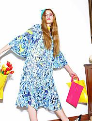 LIANGSANSHI Women's Casual/Daily Street chic Loose Dress,Print Round Neck Midi ¾ Sleeve Blue Polyester Summer