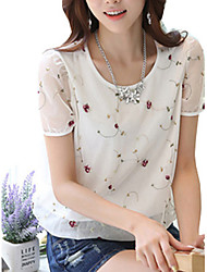 Women's Print White / Black Blouse,Round Neck Short Sleeve