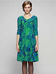 Sarahdean Women's Going out Sophisticated Sheath DressPrint Knee-length  Length Sleeve Mid Rise Inelastic