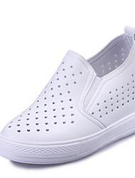 Damen-Loafers & Slip-Ons-Outddor Lässig Sportlich-Kunstleder-Keilabsatz-Komfort-Schwarz Weiß