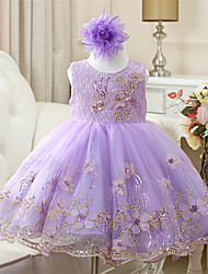 A-line Short / Mini Flower Girl Dress - Cotton Tulle Polyester Sleeveless Jewel with Embroidery Lace