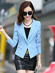 Mulheres Blazer Trabalho Simples Todas as Estações,Sólido Azul / Rosa / Branco / Preto Algodão / Poliéster Lapela Chanfrada Manga Longa