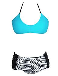Women's Blue Strappy Halter Bikini with Printed High Waist Bottom
