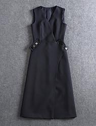 Boutique S Women's Formal Vintage Sheath DressSolid V Neck Knee-length Sleeveless White / Gray