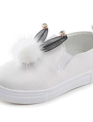 Girl's Loafers & Slip-Ons Spring Fall Comfort PU Casual Flat Heel Magic Tape Black Pink White Walking
