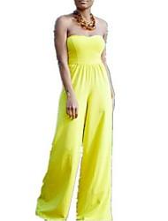 Women's Solid Yellow Straight PantsSexy