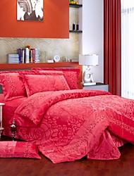 Sólido Define capa de edredão 1 Peça Veludo Vermelho chinês Impressão Reactiva Veludo Queen / King4peças (1 edredão, 1 lençol, 2