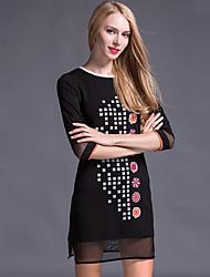 Feminino Camiseta Vestido,Tamanhos Grandes Simples Estampado Decote Redondo Mini Manga ¾ Preto Poliéster Outono Cintura MédiaSem