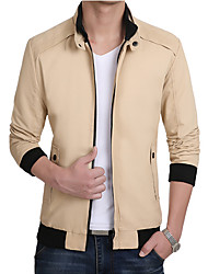Men's Long Sleeve Casual / Work Jacket Coat Cotton / Polyester Leisure Solid Regular Outerwear