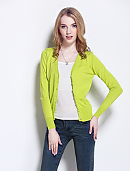 Women's Casual/Daily Simple / Street chic Slim All Match Fashion V Neck Regular Cardigan Solid