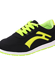 Feminino-Tênis-Conforto-Rasteiro-Verde / Branco-Courino-Ar-Livre / Para Esporte