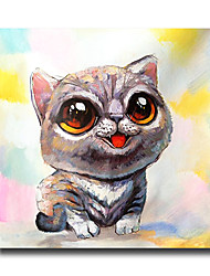 Modern Wall Art Pictures Animal Cute Cat Oil Painting On Linen Home Decoration Abstract Painting With Frame