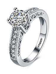 lureme 18kRPG Cubic Zirconia Engagement Hollow Band Ring