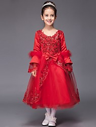 Ball Gown Tea-length Flower Girl Dress - Tulle Long Sleeve V-neck with Appliques / Bow(s) / Sequins