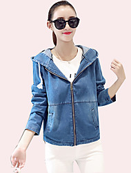 Women's Going out Street chic All Match Denim Jackets Solid Hooded Long Sleeve